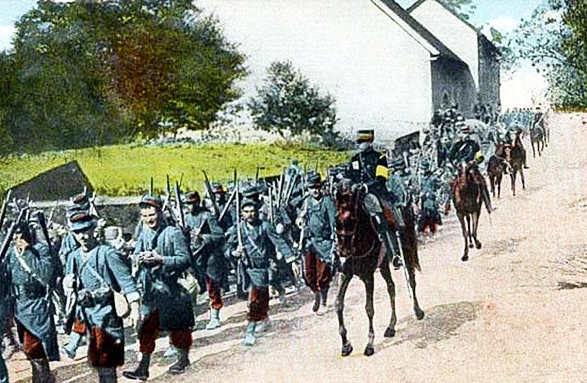 soldats français en mouvement de troupe color ttttb