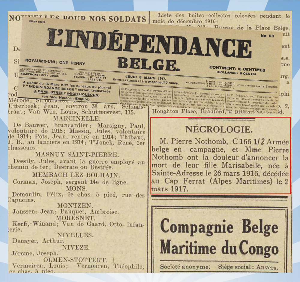 19170308-L'indépendance_belge avis décès mlle nothomb mibb