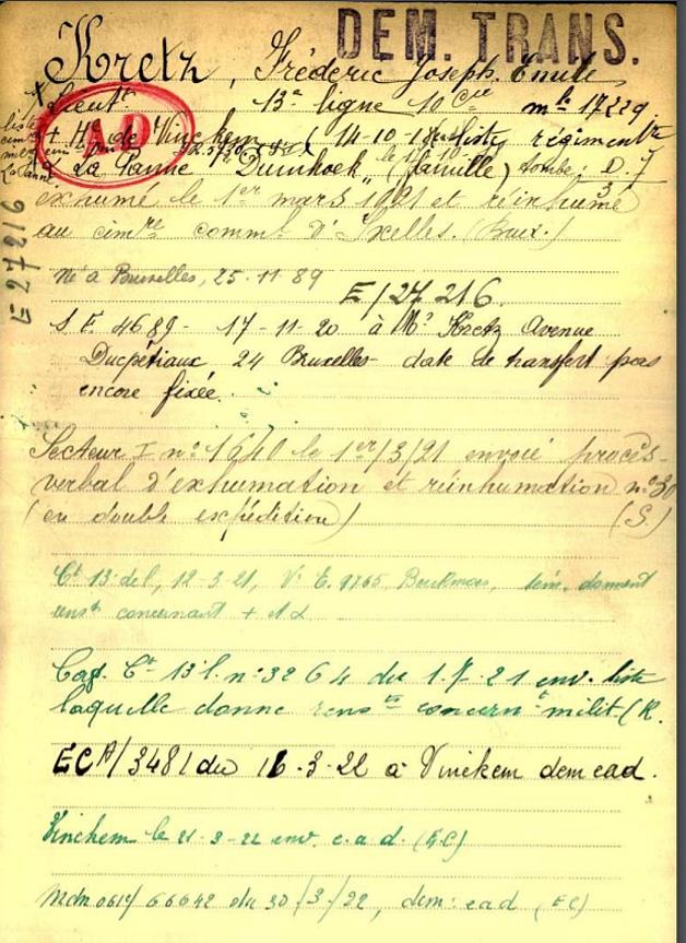 kretz frederic fiche belg war register page 1
