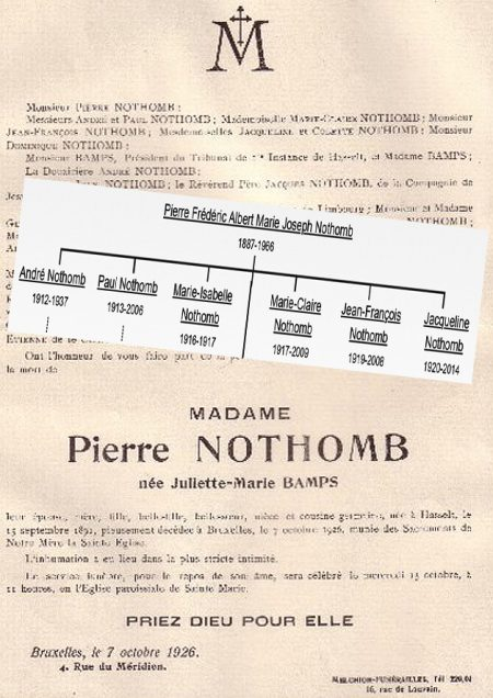 marie juliette bamps epouse pierre nothomb et noms enfants