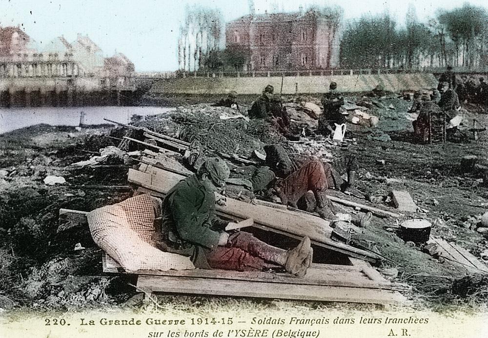 soldats francais sur l'yser en 1914