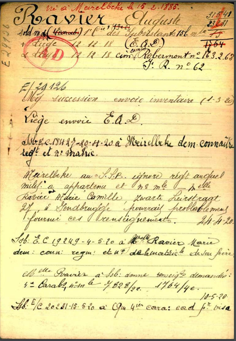 fiche 01 belg War Register Ravier Auguste