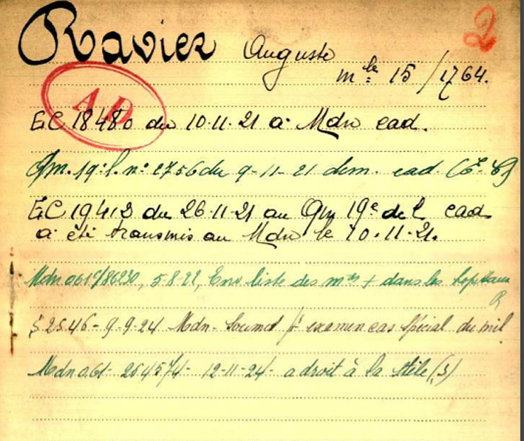 fiche 03 belg War Register Ravier Auguste