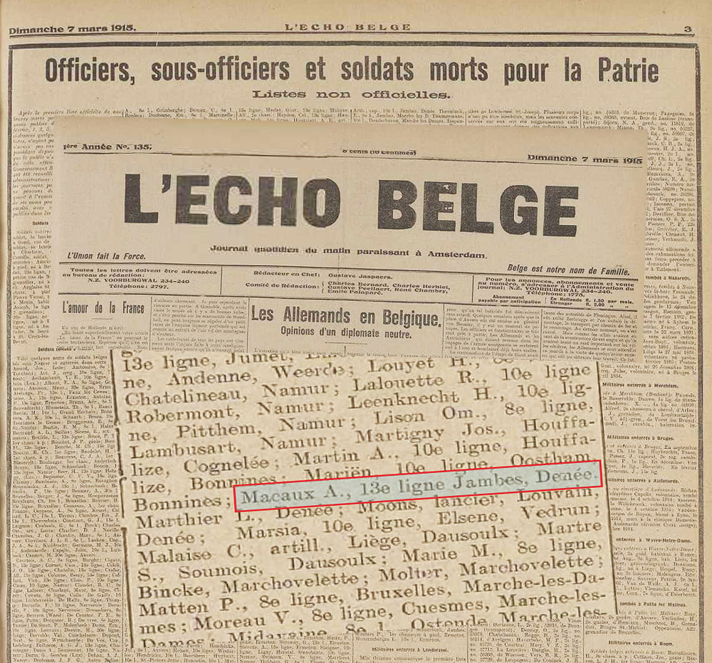 l'echo belge 7 mars 15 extrait defunts