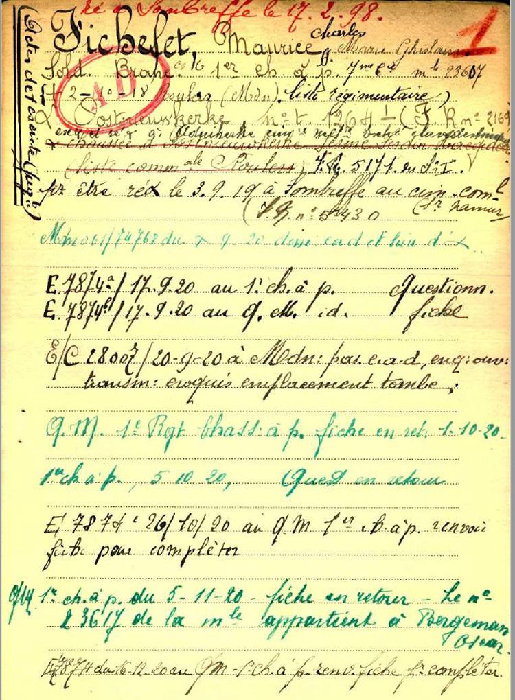 belg war register page 1
