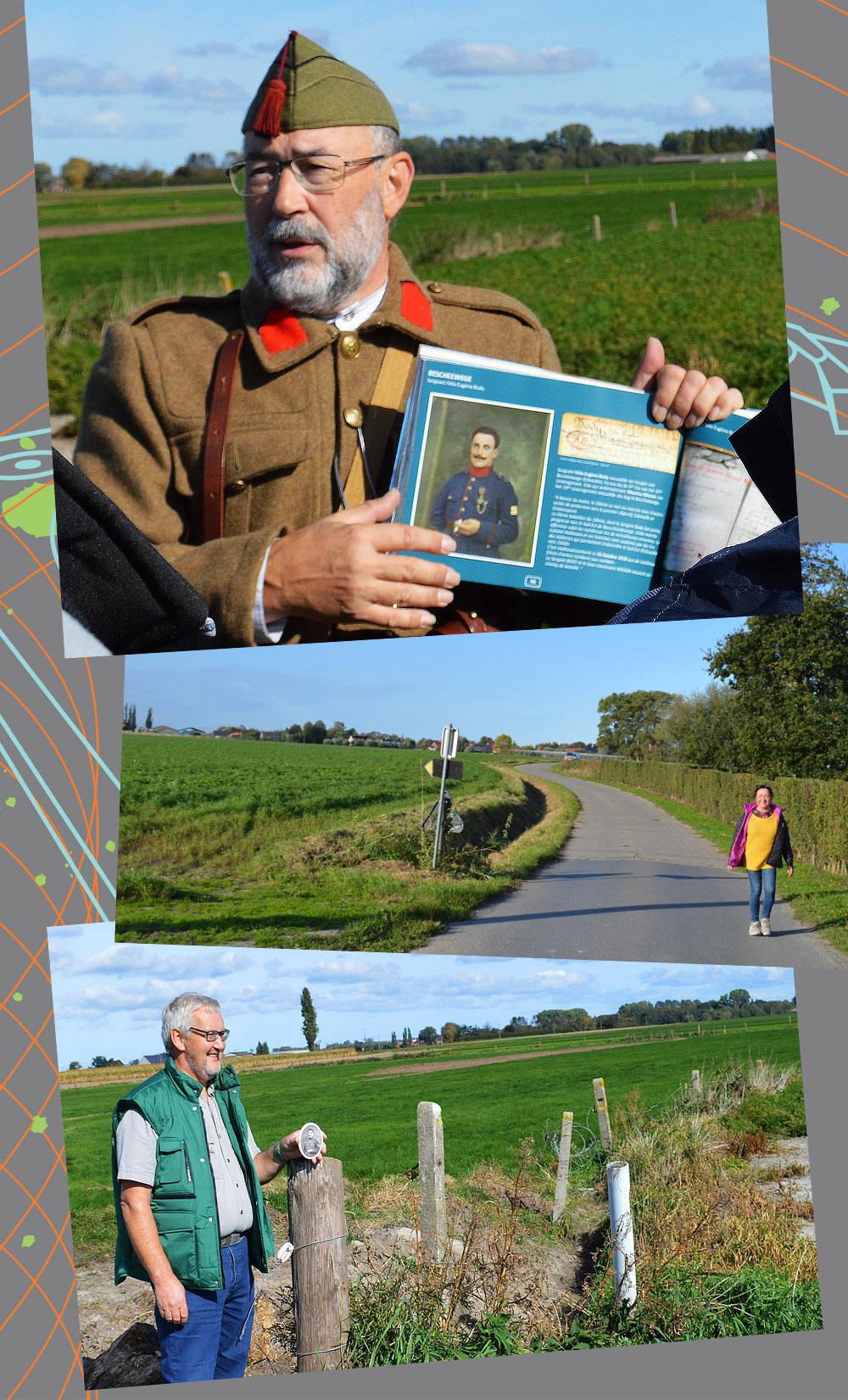Eric Kellens montre le lieu de décès du sergent Félix Body