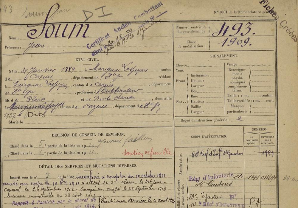 493 Jean SOUM 31 01 1889 Marignac page 1