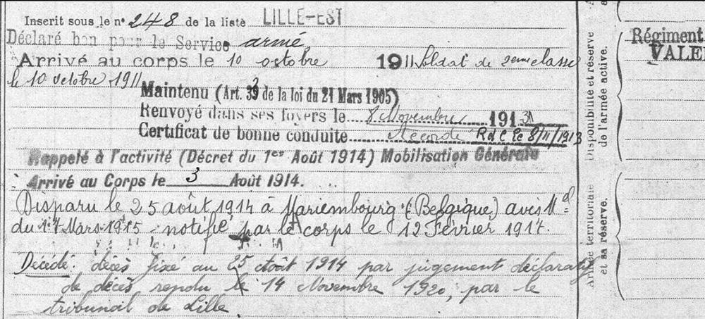 extrait matricule Lille cla 1910 activité et disparition