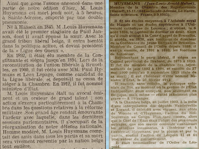 biographie Huysmans jean louis nommé ministre 1912