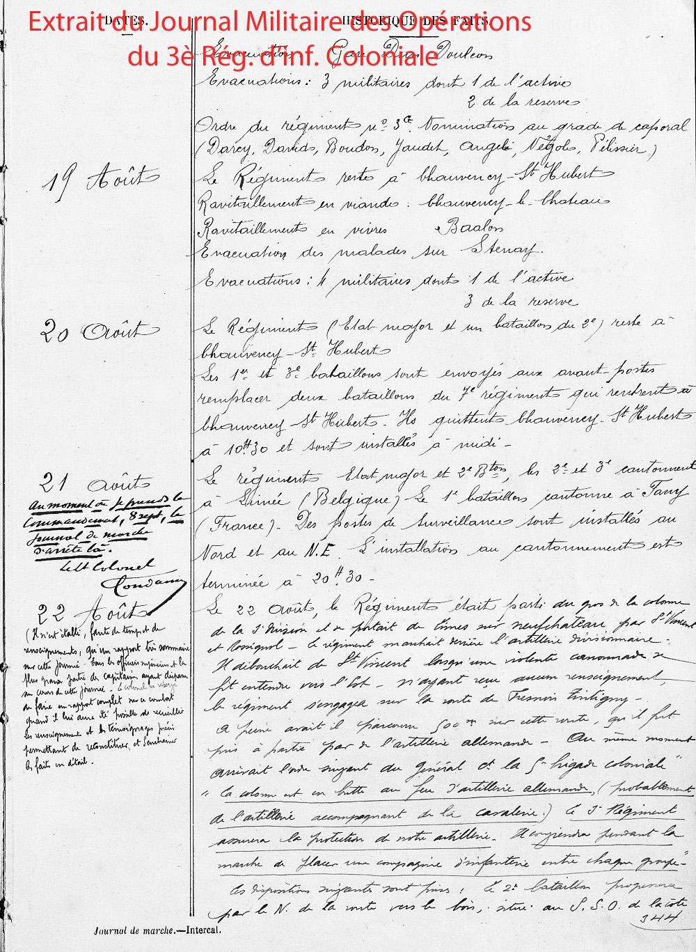 extrait jmo 18 au 23 aout 1914