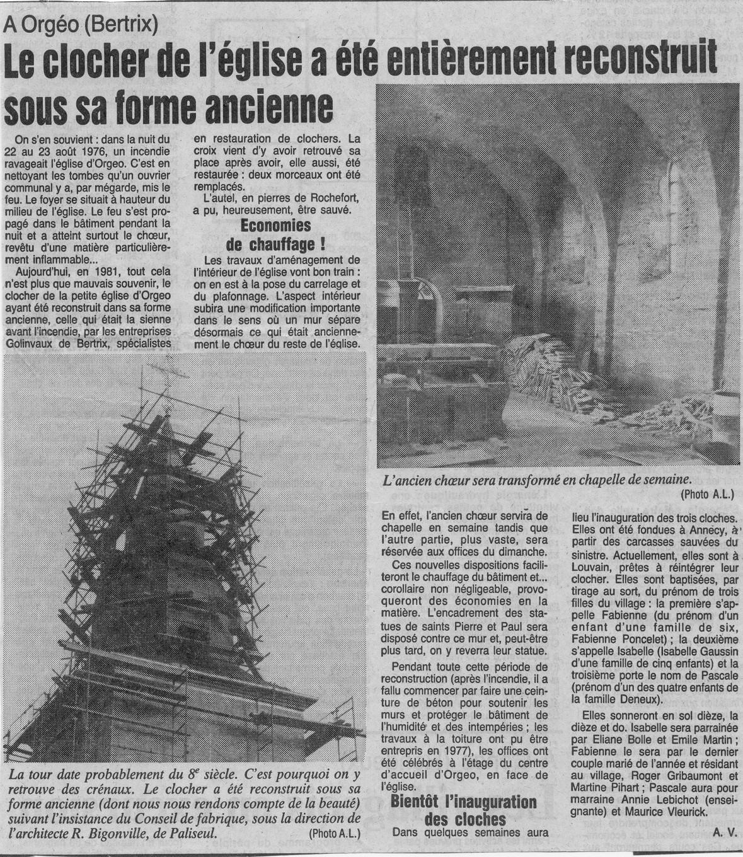 article Avenir du Luxembourg Orgéo 1982