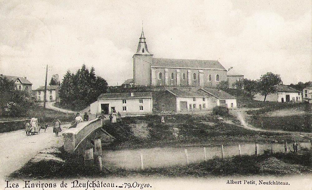 asu orgeo-bertrix-eglise-maisons-pont-anime-circule-1920-ealbert-petit-neufchateau-super