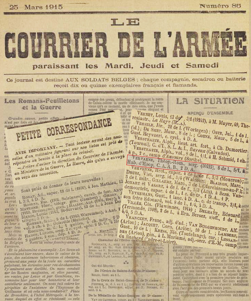 asu courrie armée mars 1915 renseig vervaene rom