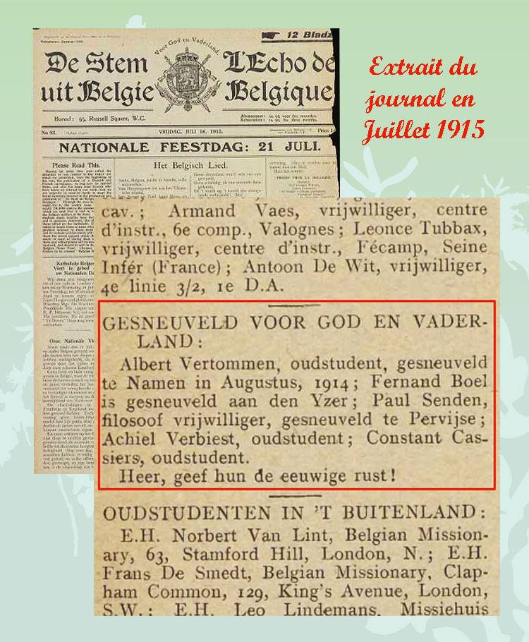asu extrait du journal Echo belg juil 1915