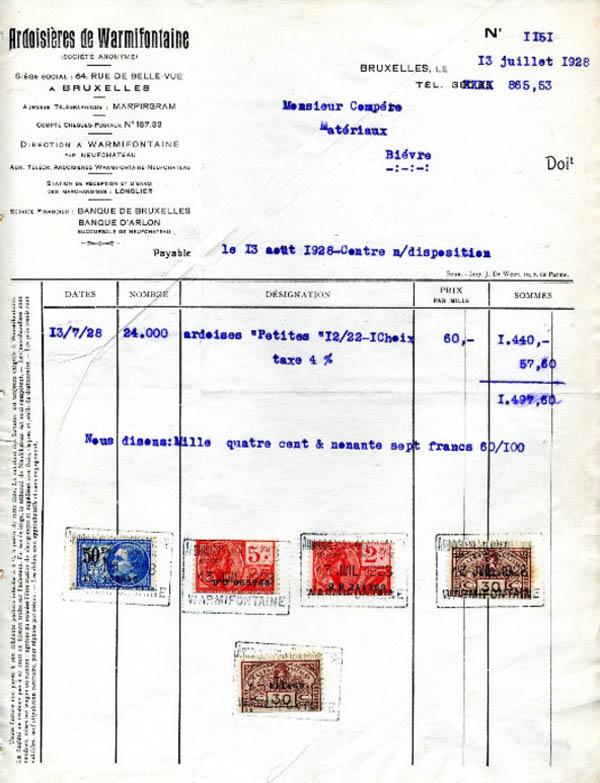asu facture ardoisières compere 1928