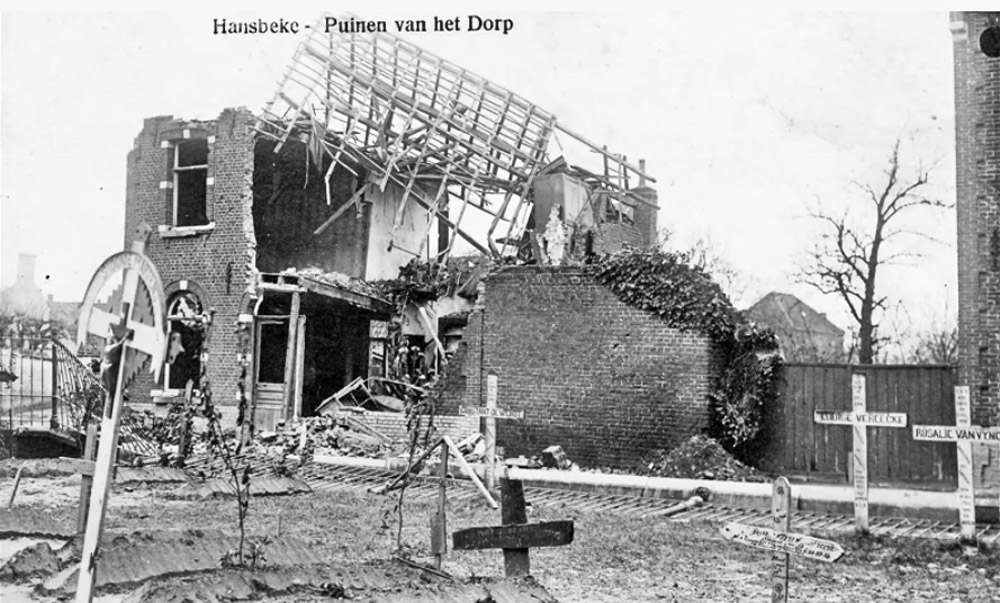 asu hansbeke ruines du village et croix