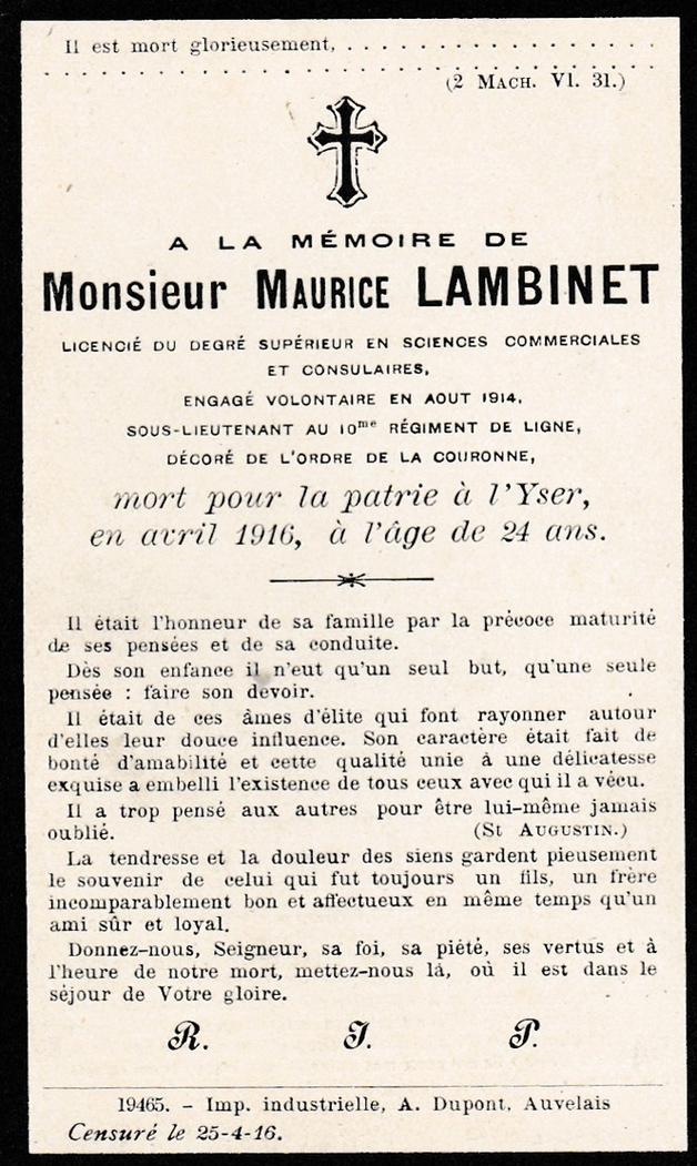 asu avis mortuaire maurice Lambinet