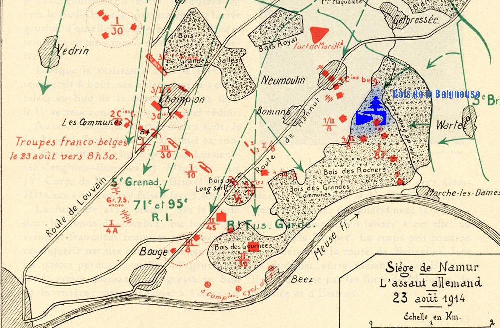 asu plan du siège de Namur 23 aout 1914