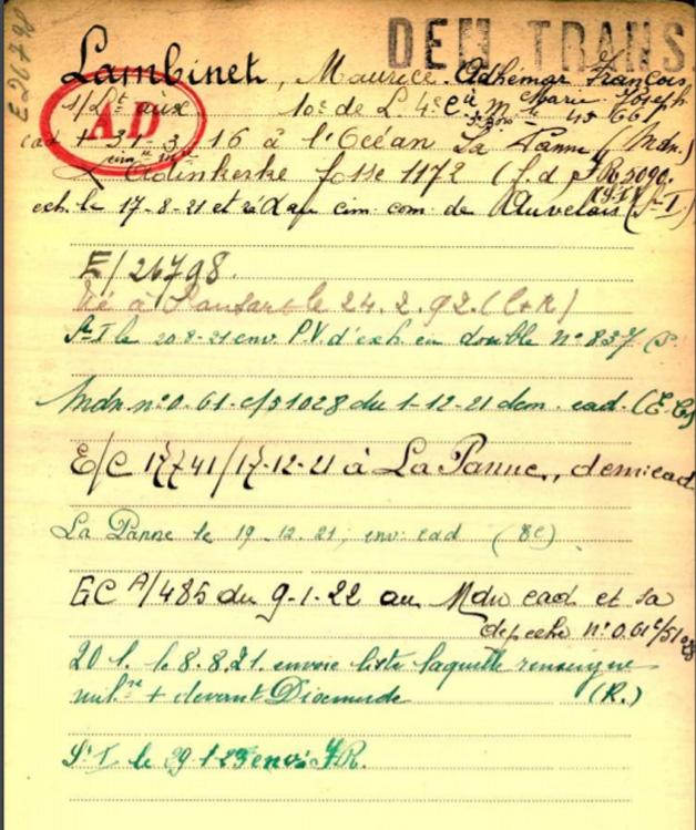 belg war reg page 1 lambinet maurice