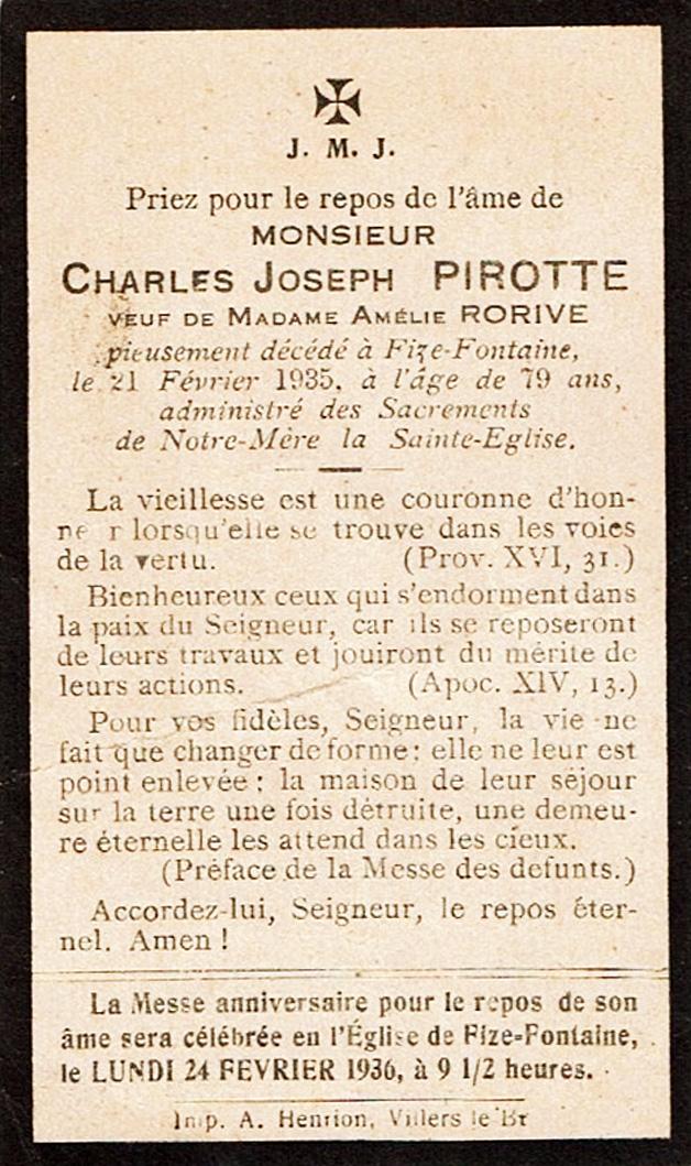 Avis mortuaire de Charles Joseph Pirotte