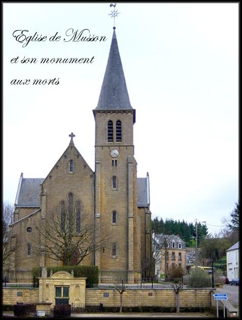 site musson; l'église avec le monument